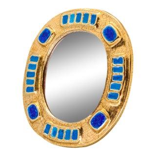 1970s Francois Lembo Ceramic Gold Enamel Mirror For Sale