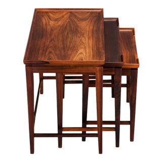 Danish Mid-Century Modern Raised Edge Nesting Tables, 1960s - Set of 3 For Sale
