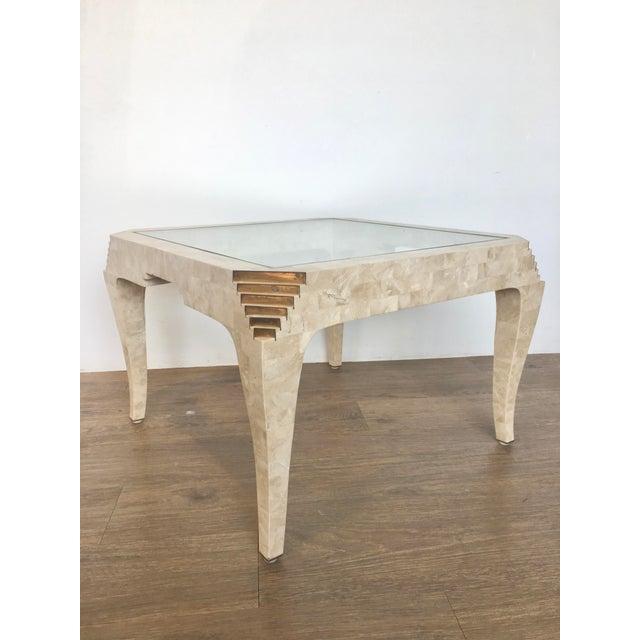 Brass 1970s Mid-Century Modern Tesselated Stone Side Table For Sale - Image 7 of 7