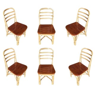 Restored Mid Century Rattan Dining Side Chair With Mahogany Seat, Set of Six For Sale