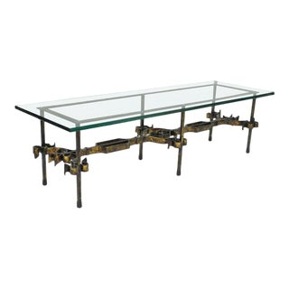 Gothic Hollywood Regency Gold Gilt Scrolling Iron Rectangular Glass Coffee Table For Sale