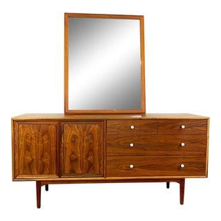 Fully Refinished Walnut Dresser & Matching Mirror Designed by Kipp Stewart for Drexel For Sale