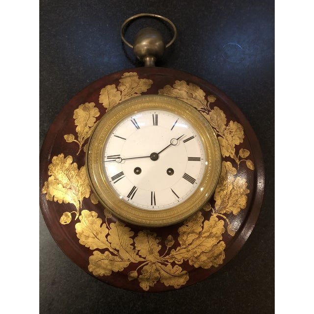 French Antique French Tole Clock For Sale - Image 3 of 13