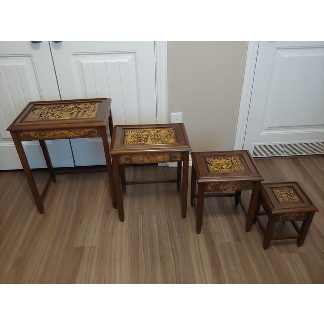 Asian Antique 1960's Carved Asian Nesting Tables - Set of 4 For Sale - Image 3 of 8
