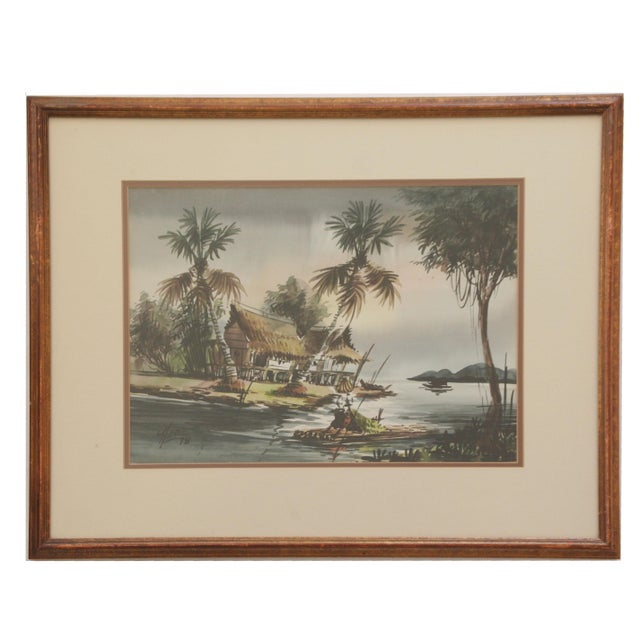 Vintage Polynesian Watercolor Paintings - A Pair For Sale In Los Angeles - Image 6 of 7
