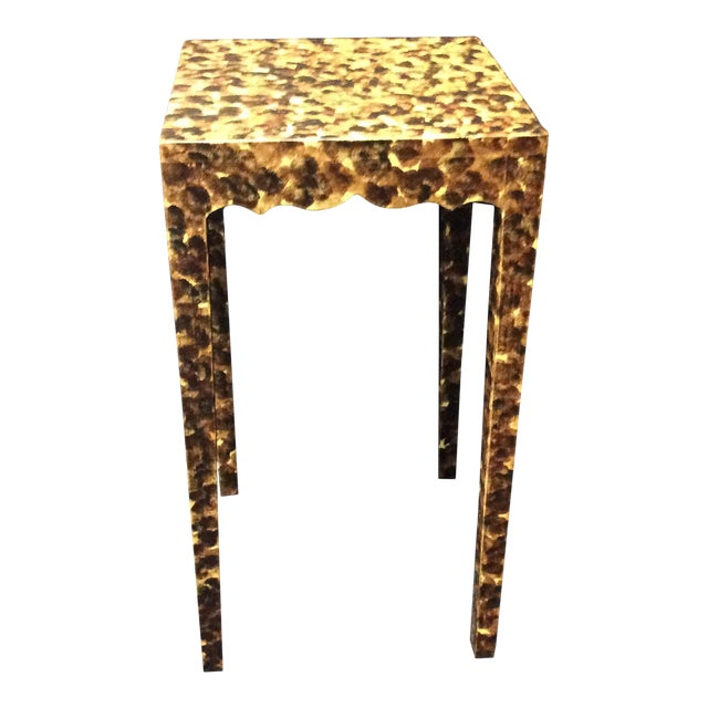 Contemporary Faux Tortoiseshell Side Table For Sale