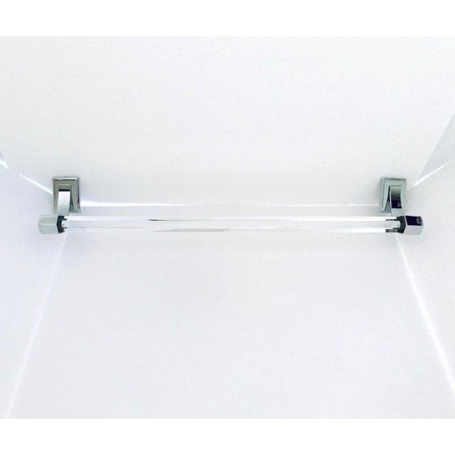 Modernist vintage bathroom or powder room towel bar, featuring a faceted glass bar with hexagon design and polished nickel...