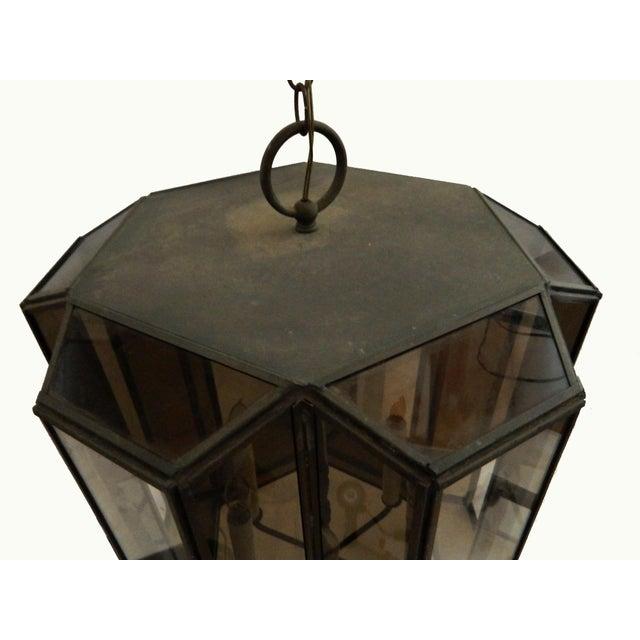 Vintage Brass Hanging Lanterns - Pair For Sale - Image 7 of 8