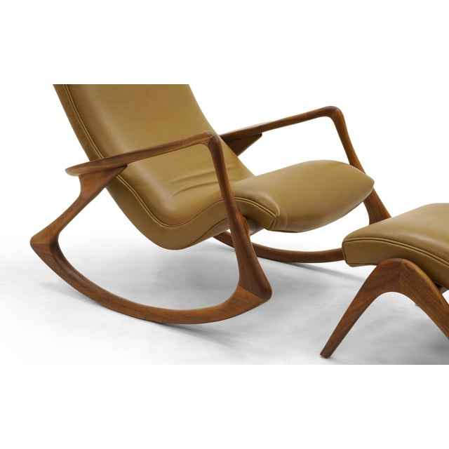 Vladimir Kagan Contour Rocker with Ottoman, Holly Hunt Leather, Excellent - Image 6 of 11