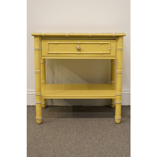 Modern Vintage Thomasville Furniture Allegro Collection Asian Faux Bamboo Nightstand For Sale - Image 3 of 11