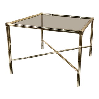 Mid Century Brass Smoked Glass Top End ~ Coffee Table For Sale