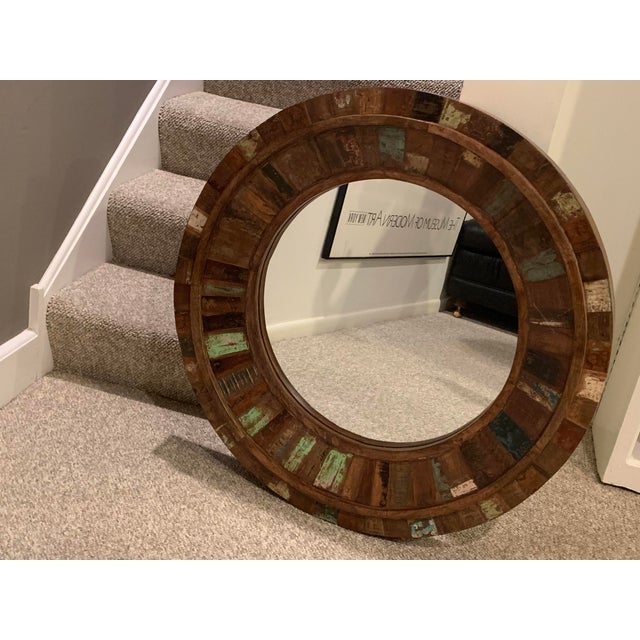 1980s Rustic Reclaimed Wood Round Mirror For Sale - Image 5 of 9