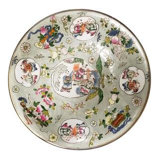 1862-1873 Chinese Tongzhi Period Famille Rose Enameled Celadon-Glazed Porcelain 100 Boys Motif Silver Rim Shallow Bowl For Sale