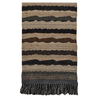 Indian Handwoven Throw Ocean Stripe For Sale