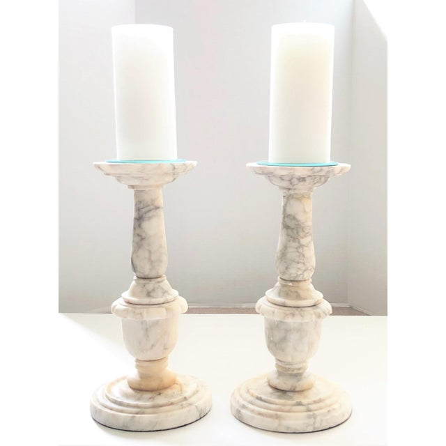 Neoclassical Large Carved Italian Alabaster Candleholders - a Pair For Sale - Image 3 of 4