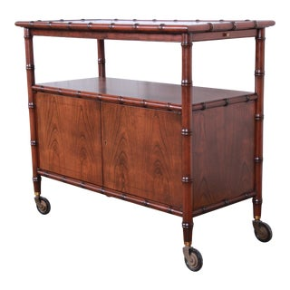 Baker Furniture Hollywood Regency Chinoiserie Faux Bamboo Bar Cart For Sale