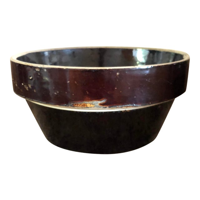 Final Markdown! 20th Century Rustic Stoneware Farmhouse Brown Bowl For Sale