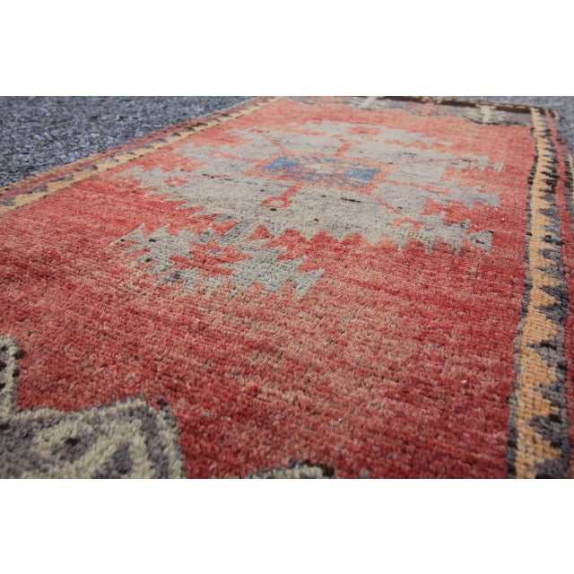 Mid-20th C. Vintage Antique Tribal Oushak Hand Knotted Turkish Rug - 1'8 X 3'5 - Image 4 of 5