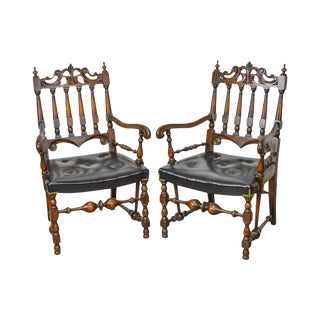 Jacobean Style Solid Walnut Carved Arm Chairs - A Pair For Sale