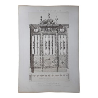 Large Antique Architectural Engraving-Palais de Fontainebleau-Architectural Details