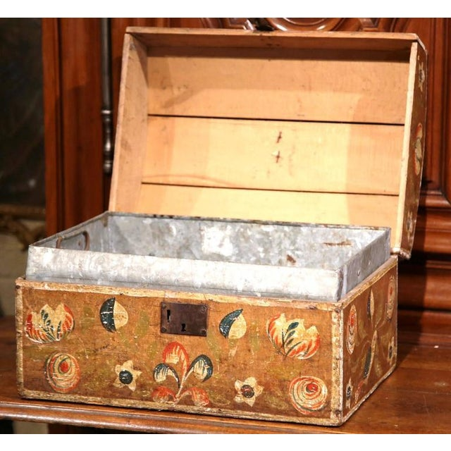 18th Century French Painted Bird Motif Trunk - Image 3 of 8