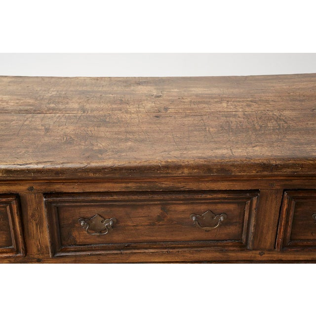 Gold 19th Century English Country Georgian Oak Sideboard Dresser For Sale - Image 8 of 13