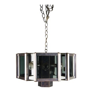 1970s Mid-Century Modern Fredrick Ramond Chrome and Glass Chandelier