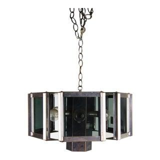 1970s Mid-Century Modern Fredrick Ramond Chrome and Glass Chandelier For Sale