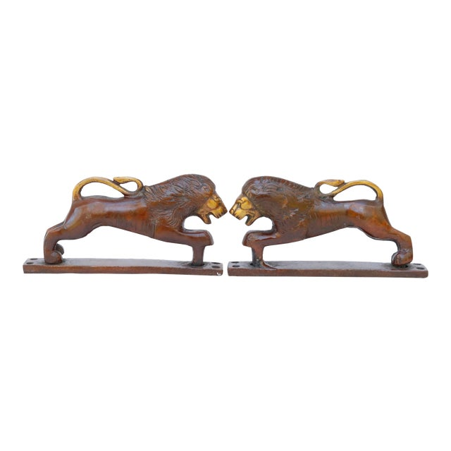 Red Brass Lion Door Handles - a Pair For Sale