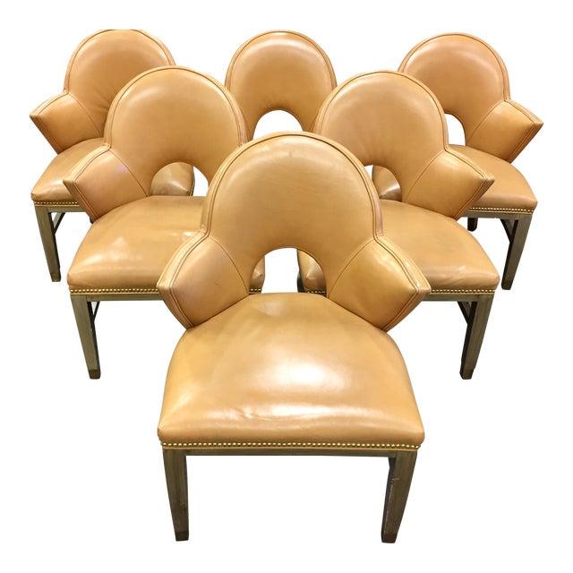 Custom Ordered Leather Nailhead Armchairs - Set of 6 - Image 1 of 11