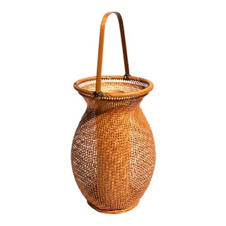 Delicate Japanese Bamboo Ikebana Flower Basket For Sale