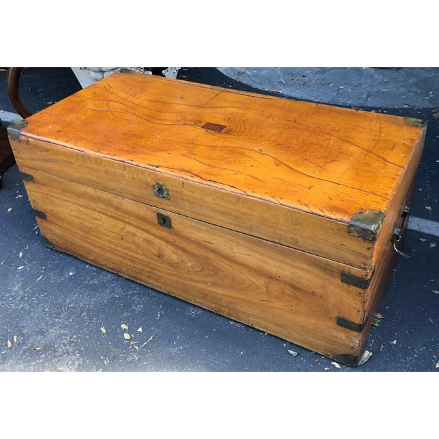 Antique 19th C Chinese Camphor Chest Trunk or Side Table. It is a fine example and features hidden dovetail, inlaid metal...