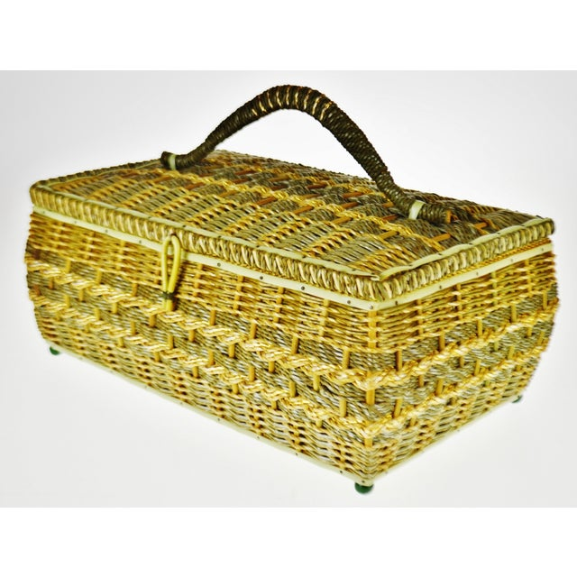 Vintage Japanese Wicker Sewing Basket For Sale - Image 13 of 13