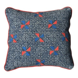 Indigo Hmong Textile Blue & Red Pillow