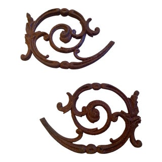 Vintage Cast Iron Architectural Garden Art Wall Decor - a Pair For Sale