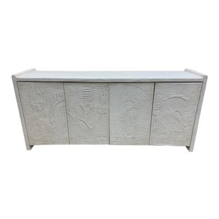 French Deco Plaster Console With Carved Doors For Sale