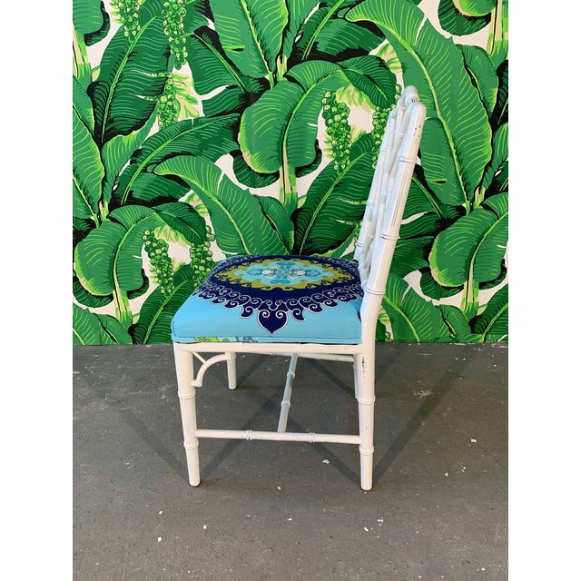 Textile Faux Bamboo Chinoiserie Style Dining Chairs - Set of 4 For Sale - Image 7 of 10