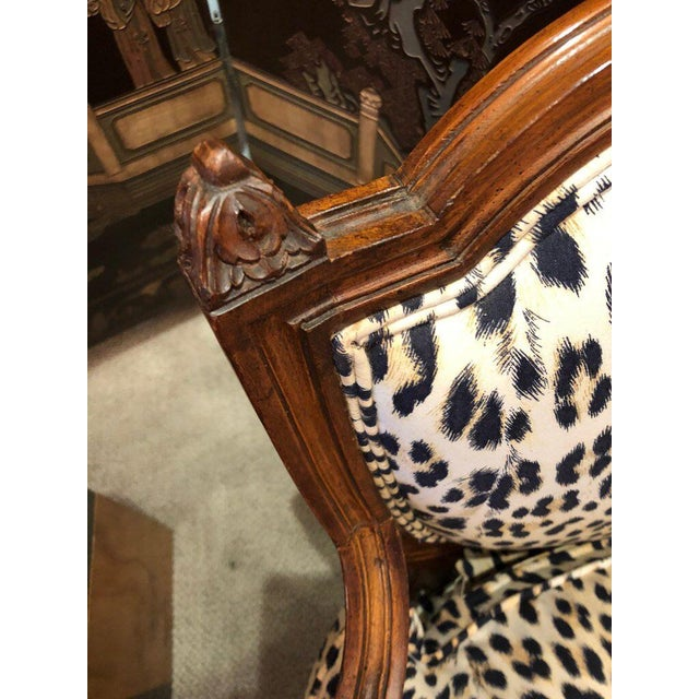 Louis XIV Carved Walnut and Faux Leopard Loveseat Settee For Sale - Image 4 of 8