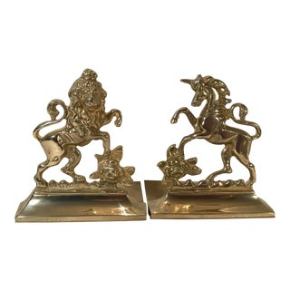 Neoclassical Brass Bookends With Lion and Unicorn For Sale