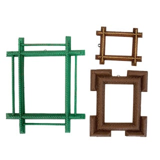 Tramp Art Traditional Brown & Green Frames - Set of 3
