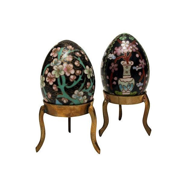 Cloisonne Eggs on Brass Display Stands - A Pair - Image 2 of 6