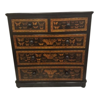 Traditional Chest of Drawers Decoupaged With Moths and Butterflies For Sale