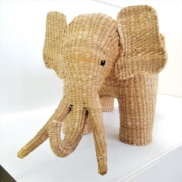 Mario Lopez Torres Elephant Bench - Signed 1974 -- Palm Beach Boho Chic Mid Century Modern Wicker Seagrass Animal For Sale In Miami - Image 6 of 13