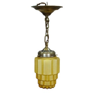Geometric Art Deco Pendant Light With Yellow Glass Shade Ca. 1930 For Sale