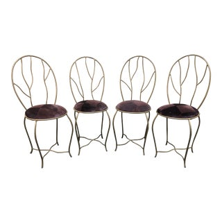 Vintage Metal Branch Purple Velvet Dining Chairs - Set of 4 For Sale