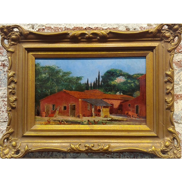 "Attributed to Morris Graves - Farmhouse with Chickens - Oil painting oil painting on board circa 1940s frame size 13 x 10""..."