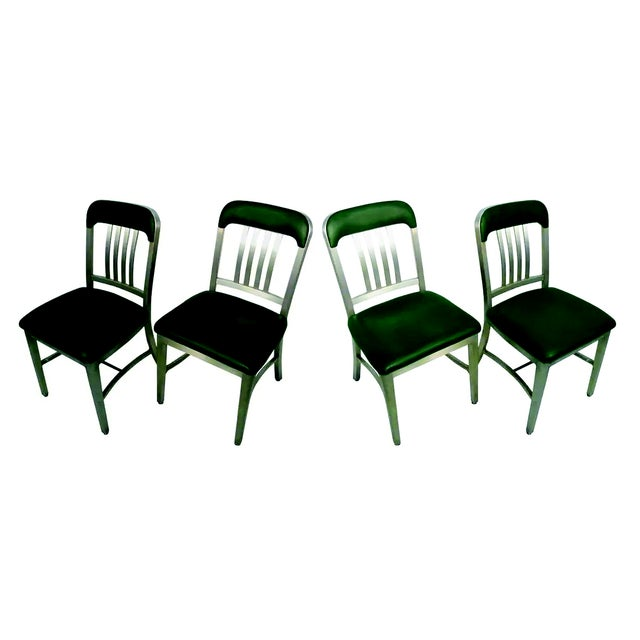 Silver Vintage GoodForm Aluminum Chairs Green Leather For Sale - Image 8 of 9