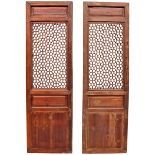 Pair of Antique Chinese Screens, Octagon Wheel Pattern For Sale