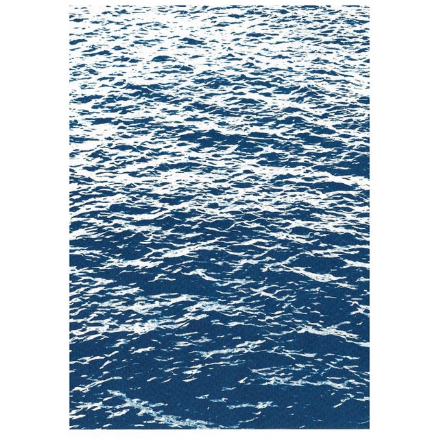 2020s Bright Seascape in Capri, Navy Cyanotype Triptych 100x210 Cm, Classic Blue Edition of 20. For Sale - Image 5 of 11