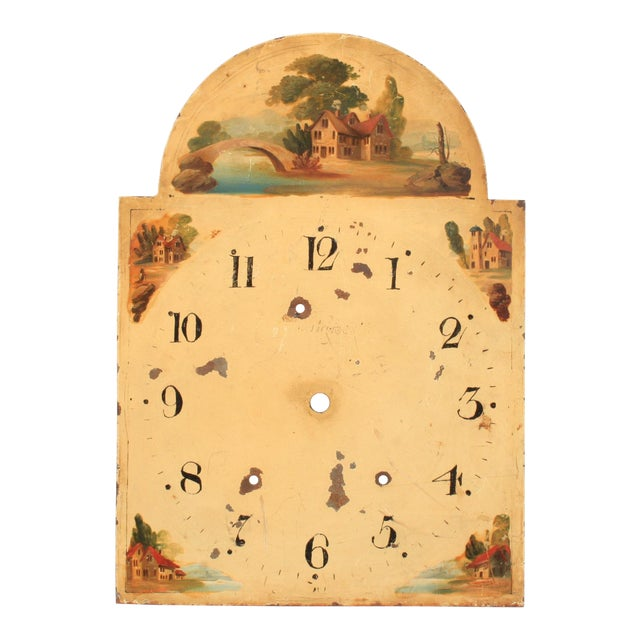 19th-C. Hand-Painted English Clock Face For Sale